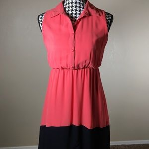 Coral & Navy High Low Dress